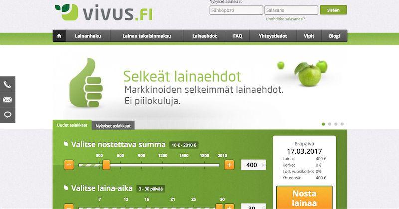 Vivus Pikalaina heti tilille. Lainaa 10€ - 2010€
